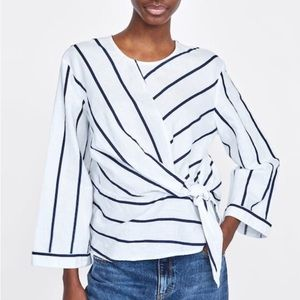 Zara Striped Linen Knot Front Shirt
